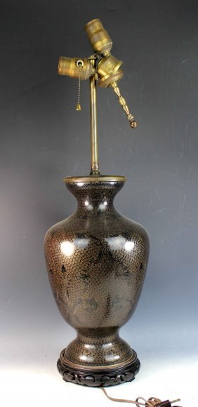 Chinese Large Cloisonne Table Lamp Made From Vase