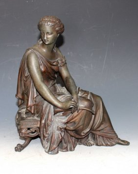 American Bronze Statue Of Lady