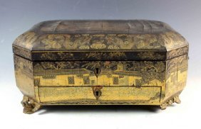 Antique Gold Chinese Lacquer Sewing Box