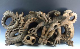 Large Chinese Carved Wood Statue Of Dragon