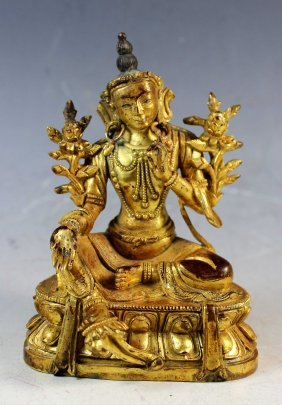 Tibet Buddhism Bronze Gilt Manjusri Bodhisattva Kwanyin