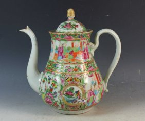 Antique Chinese Export Rose Medallion Teapot