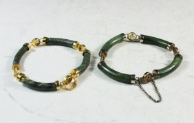 Pair Of Chinese Carved Green Jade Bracelets