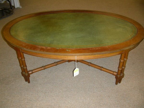 451 vintage leather top coffee table bamboo style lot 451