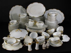 HAVILAND LIMOGES WHITE & GOLD GILT CHINA 98 PCS