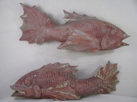 TWO LARGE JAPANESE CARVED WOOD CARP FIGURES