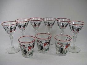 LIBBEY HUNT SCENE GLASS WARE MARTINI & TUMBLERS