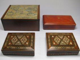 BOXES: INLAID MARQUETRY LEATHER & LINED CIGAR 4pcs