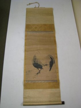 18TH C CHINESE SCROLL: BRUSH PAINTING, ROOSTER