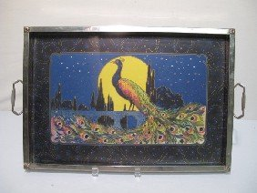 1920's 1930's CHROME 2 HANDLE TRAY WITH PEACOCK