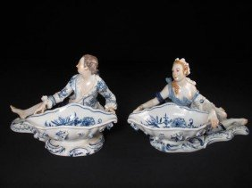 PAIR MEISSEN FIGURAL SWEETMEAT DISHES