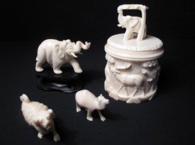 CARVED IVORY MINIATURE FIGURINES AND BOX 4 PCS