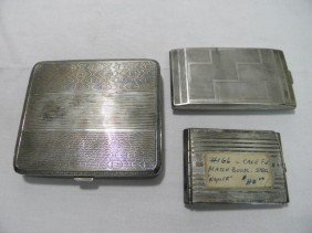 TWO SILVER CIGARETTE CASES & STERLING MATCHBOOK CA