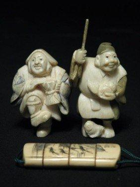 JAPANESE IVORY NETSUKE AND MINI INRO