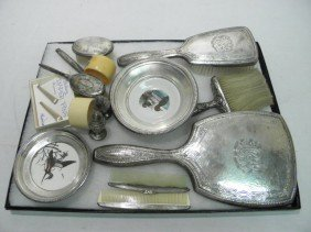 ASSORTED STERLING VANITY ITEMS, S&P SHAKERS, PINS