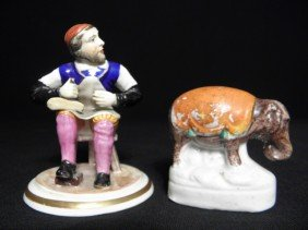 TWO STAFFORDSHIRE PORCELAIN FIGURINES: SHOEMAKER &