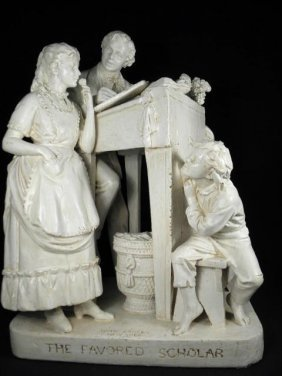 """JOHN ROGERS 19TH C PLASTER SCULPTURE: """"THE FAVORED SCHO"""