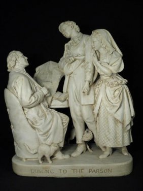 """JOHN ROGERS 19TH C PLASTER SCULPTURE: """"COMING TO THE PA"""