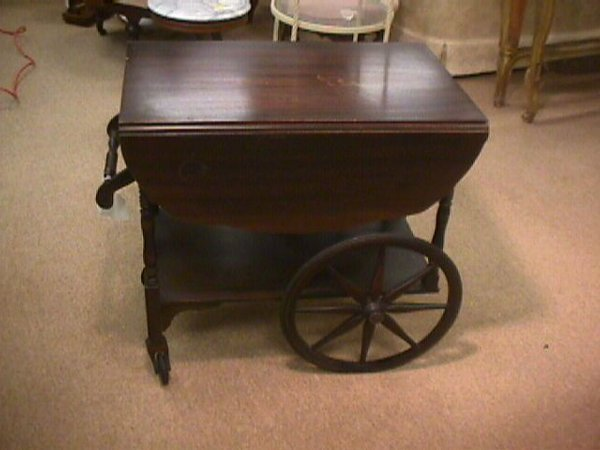 Wood Serving Cart ~ Vintage wood folding leaf tea cart serving lot
