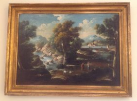 Italian Cappricio Painting Of A Waterfall