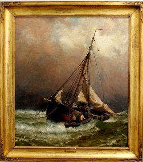 "Harry Chase Oil On Canvas ""On The Fishing Banks"""