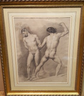 Male Nude Drawing French 19th Century