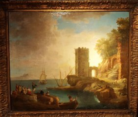 Continental School Castle With Seascape