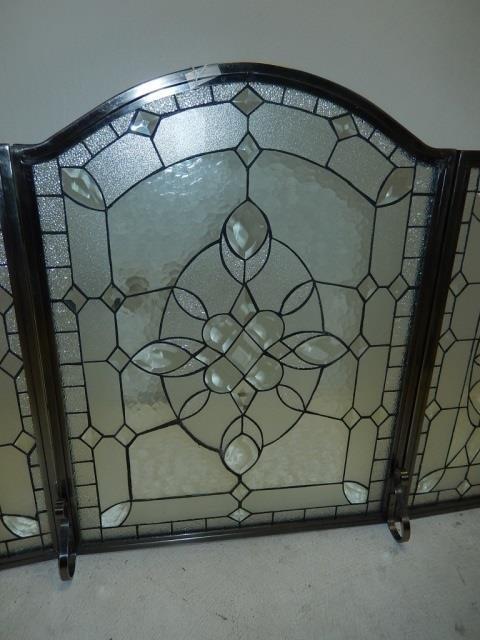 beveled lead glass fireplace screen lot 315