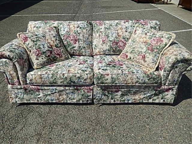 floral pattern sofa 90 long 40 deep 31 tall lot 56