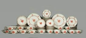 A Large Herend 'chinese Bouquet Rust China Service