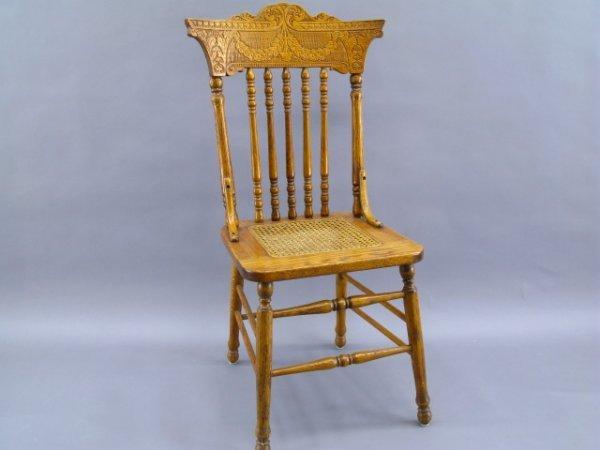 Pressed Oak Chairs ~ Six antique pressed back oak chairs lot