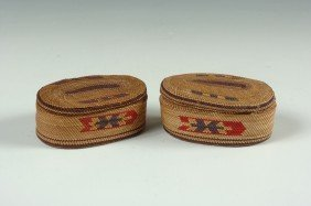 PAIR CIRCA 1900 MAKAH LIDDED BASKETS