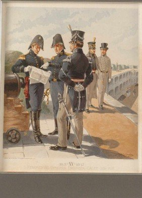 THREE H.A. OGDEN US ARMY UNIFORM LITHOGRAPHS, 1880'S