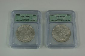 TWO 1886 MS63 MORGAN SILVER DOLLARS