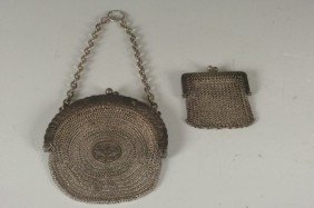 TWO STERLING SILVER MESH PURSES