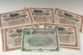 Thirty-One AT&SF RR $1000 Gold Bond Certificates, 1890s