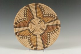 A HOPI COILED BASKETRY TRAY WITH BUTTERFLY