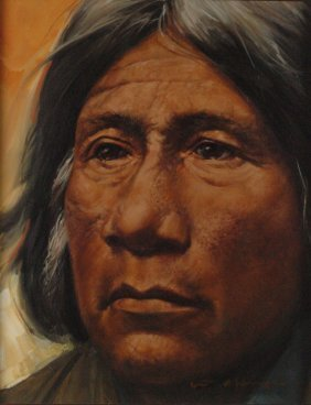 BILL HUGHES (1932 - 1992)  PORTRAIT OF NATIVE AMERICAN