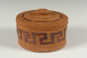 A TSIMSHIAN COVERED BASKET BY LUCY RAINMAN