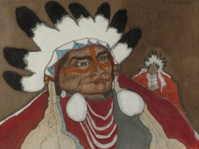 KEVIN RED STAR (BORN 1943) OIL ON CANVAS NATIVE AMERICA