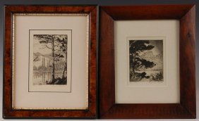 TWO LYMAN BYXBE (1886-1980) PENCIL SIGNED ETCHINGS