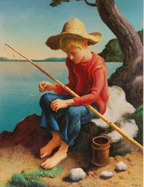 PRINT AFTER THOMAS HART BENTON. 'LITTLE FISHERMAN'