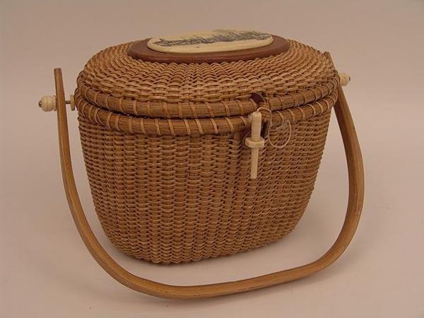 Nantucket woven basket : Barlow nantucket woven basket purse w bone measure