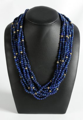 Lapis Lazuli Necklace With 18k Gold Diamond Clasp
