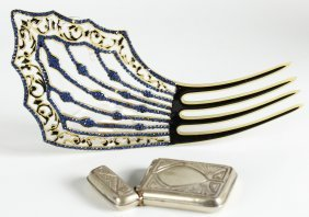 Antique Match Safe And Jeweled Hair Comb