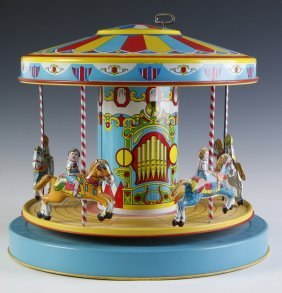 Wind-up Tin-litho Merry-go-round Attributed Chein