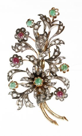 A Victorian Diamond, Emerald And Ruby Pin