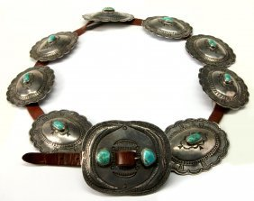 A Great Primitive Silver And Turquoise Concho Belt