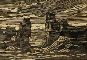 Attributed Birger Sandzen (1871-1954) Woodblock Print