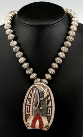 A Sterling Silver Navajo Necklace Pendant Brooch